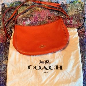 Coach Leather Coral Crossbody Purse With Dust Bag